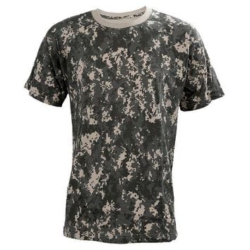 PEAPFS2 Summer Outdoors Hunting Camouflage T-shirt Men Breathable Army Tactical Combat T Shirt Military Sport Camo Outdoor Camp Tees ACU