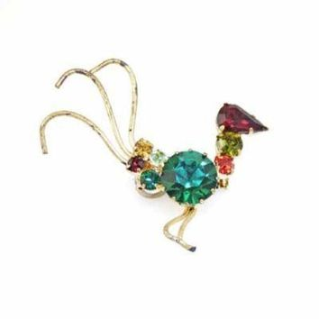 Vintage Brass Bird Pin W/Prong Set Colored Stones 1950'S
