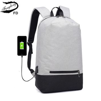 School Backpack FengDong men minimalist smart backpack usb school bags for boys simple  with earphone jack student laptop bag 15 AT_48_3