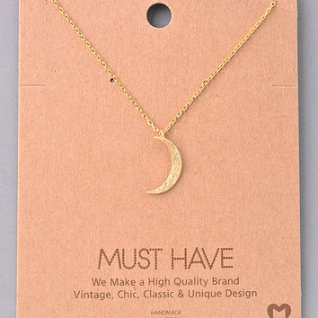Dainty Crescent Moon Pendant Necklace - Gold, Silver or Rose Gold
