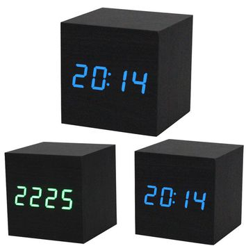 Digital LED Black Wooden Wood Desk Alarm Brown Clock Voice Control