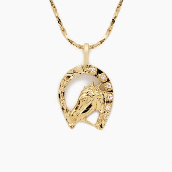 Horse Shoe Necklace - Gold