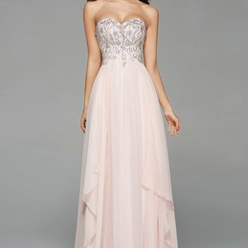 Crystal Prom Dresses Sweetheart Corset Back Crystal Beads Top Chiffon Long Evening Prom Dresses Afforable