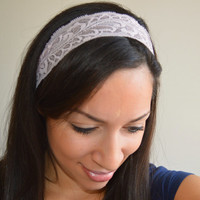 Pink Lace headband, Stretch lace head band