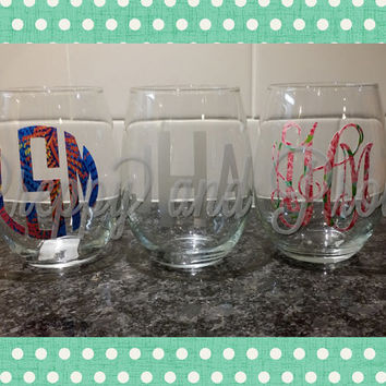 Lilly Pulitzer Monogram Stemless Wine Glass