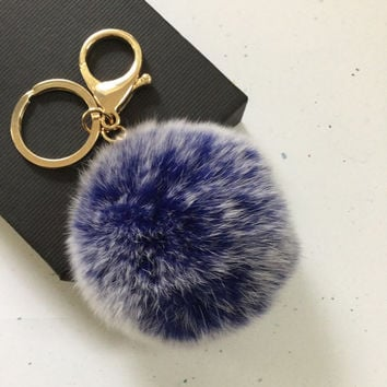 New! Frosted blue Fur pom pom keychain fur ball bag pendant charm
