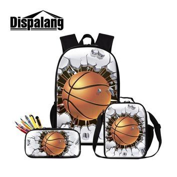 Cool Backpack school Dispalang Basketballs Print School Bag Insulated Cooler Bag for Students Cool Sporty Bookbag Boys Backpack Lunch Box Pencil Bags AT_52_3