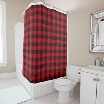 Cozy Red and Black Plaid Patterned Shower Curtain