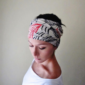 Abstract Floral Motif Head Scarf - Botanical Headband, Hair Wrap, Hair Accessory - Womens Hair Accessories - Red and Black Flowers