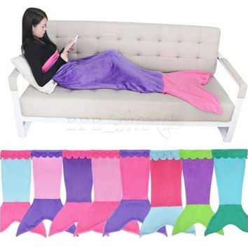 Soft Fleece Mermaid Tail Blanket Age4-16 Bed Wrap Fin Kids Cocoon Costome [9305907783]
