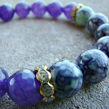 Purple Stretch Bracelet, Stacking Bracelet, Gemstone Bracelet, Bohemian, Gypsy Jewelry, Gift for Mom, Mothers Day Gift, Layered Bracelet