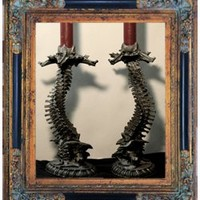 Spinal Helix Ossuary Candleholder - Set of Two [DLMC] - $140.00 : Gorey Details, - Edward Gorey, Tim Burton, Alice, Poe, gothic, horror, halloween, vampire, bats, skull, zombie, dragon, fairy, victorian