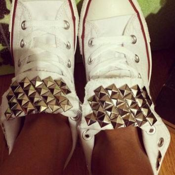 DCCK1IN custom studded white converse all star chuck taylor high tops all sizes colors