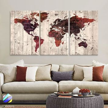 "LARGE 30""x 60"" 3 panels 30x20 Ea Art Canvas Print Watercolor Old Map World Push Pin Travel M1821"