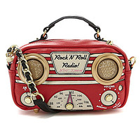 Betsey Johnson Tune-In Working Radio Cross-Body Bag - Red
