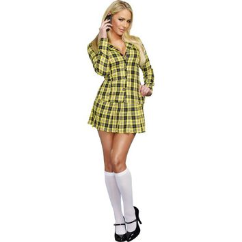 Adult Fancy Yellow Plaid School Girl Costume