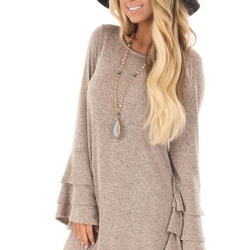 Taupe Two Tone Dress with Tiered Bell Sleeves