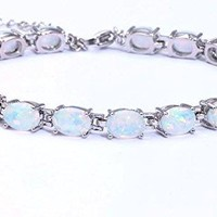 ChokuShop Hot Sell ! Best Gift Retail For Women Fashion Jewelry White Fire Opal Silver Bracelet 7.5'' OS353
