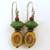 Beige Earrings - Rustic Tan Green Red Dangle Earrings Bead Patina Metal Sterling Silver Wire Wrapped Jewelry