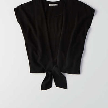 Don't Ask Why Tie-Front Top, Black