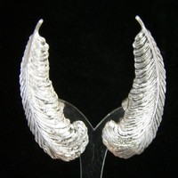 Sarah Coventry Ear Climber Earrings, Large Feather Design, Antiqued Silver Tone Setting, Signed 118