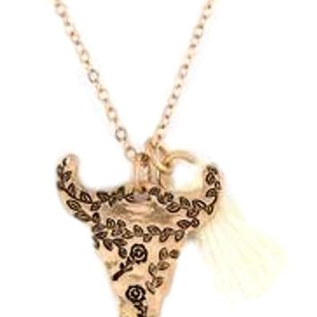 Cow Skull Flower Pendant Necklace, Gold