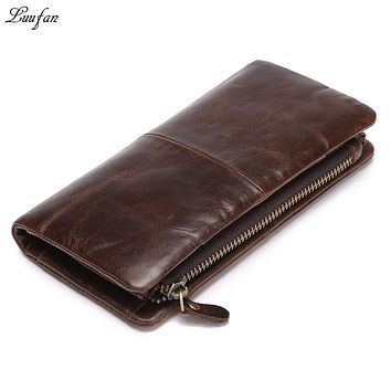 Genuine leather Trifold Leather Wallet leather Clutch wallet with phone pocket and removable Zipper Pocket Men crazy long wallet