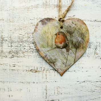 Rustic wooden heart Christmas ornament Christmas decoration cottage chic shabby chic red orange yellow off white brown billfinch