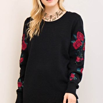 Pullover Sweater Embroidery Sleeves
