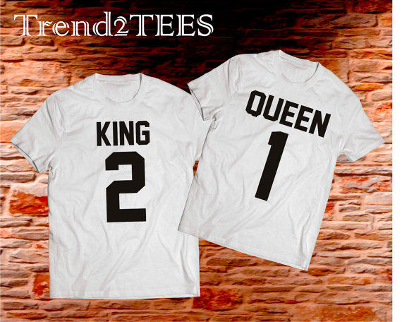 king and queen couple tshirts from trend2tees on etsy
