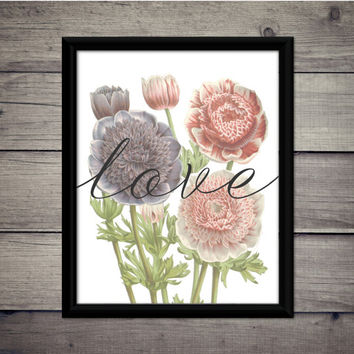 Flowers Love - Valentine's Day - Romantic Print - Instant Download - Digital Art - Printable - Gift - Wedding Decor - Typography - Love