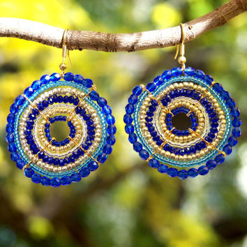 Indigo/Cobalt Maasai Beaded Earrings large by Hieropice on Etsy
