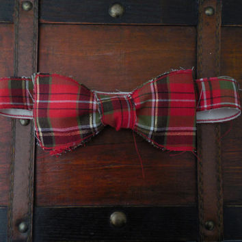 Red and Green Plaid Christmas Rustic/Rough Edged Bow Tie. Multiple Sizes Available
