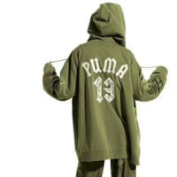 """""""Fenty X Puma Rihanna"""" Women Casual Letter Numeral Embroidery Zip Cardigan Oversize Hooded Long Sleeve Sweater Coat I-AGG-CZDL"""