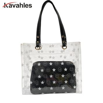 Women Summer Beach Bag PVC Clear Transparent Tote Bag Fashion Handbags Women Famous Brand Smiley Face Women Shoulder Bags LW-52