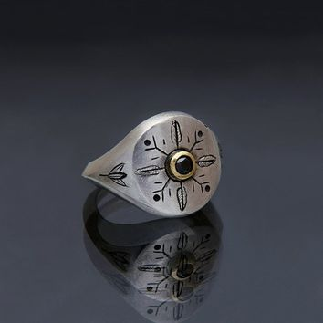 """Unisex chunky silver signet ring, """"Jungle"""" design engraving with black diamond set in yellow gold, custom made engraving"""