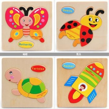 ICIK272 1 Pcs 28 Animals Fruit Shapes Jigsaw Hot Wooden Toys for Children Baby Intelligence Educational Toys Cartoon Fallout Toy Puzzle