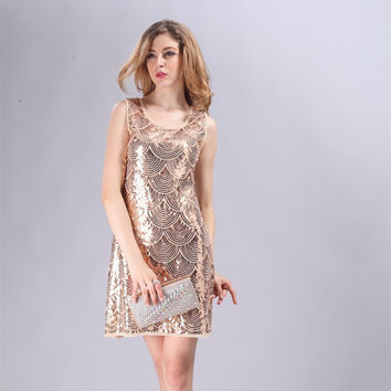 Beige Art Deco Great Gatsby 1920s Style Vintage Flapper Scallop Charleston Dress Beaded Mini Sleeveless Dress 88597