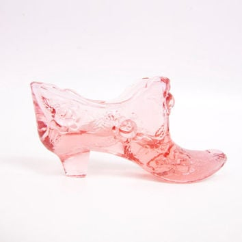 Vintage Fenton Pink Glass Shoe Embossed Roses Cinderella Glass Slipper Trinket Holder Ring Dish Pink Glass Boot
