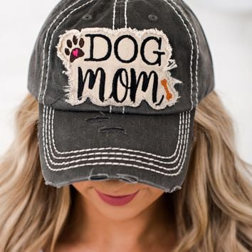 Dog Mom Graphic Distressed Hat (Black)