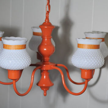 Orange 40's Chandelier Upcycled 5 Arm by TheVelvetBranch on Etsy