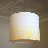 Ombre Chevron Block Print Lamp Shade in White and Butternut on Organic Linen