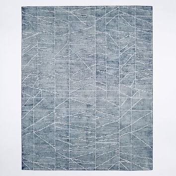 Erased Lines Wool Rug - Blue Lagoon