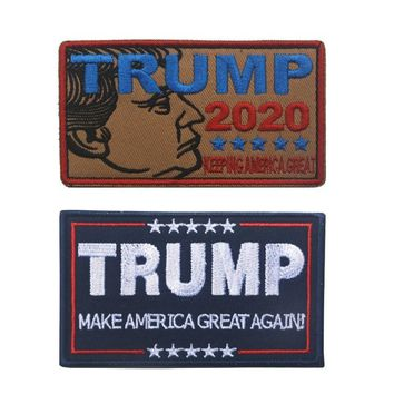 Trump 2020 Morale Patch Tactical Military USA Hook Badge Army Keep Make America Great Patch Stripe