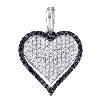 Diamond Ladies Heart Pendant in 10k White Gold 0.83 ctw
