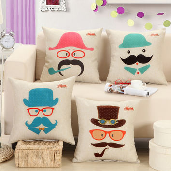 Mustache Cartoon Throw Pillow Cover