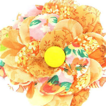 shabby wedding shabby fall shabby bride flower brooch bridal accessory shabby hair accessory hat bag gift embellishment orange pink green