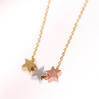 Tiny Three stars necklace. Star charm color: Gold, Silver and pink gold