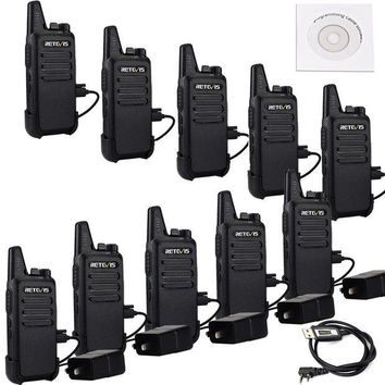 DCK4S2 Retevis RT22 Two Way Radio 16 CH VOX 400-480MHz CTCSS/DCS Rechargeable Walkie Talkies(10 Pack) and Programming Cable