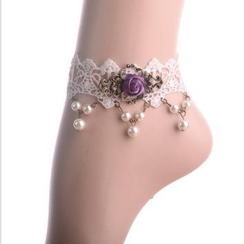 Vintage Lace Lady Rose Pearl Anklet foot ring